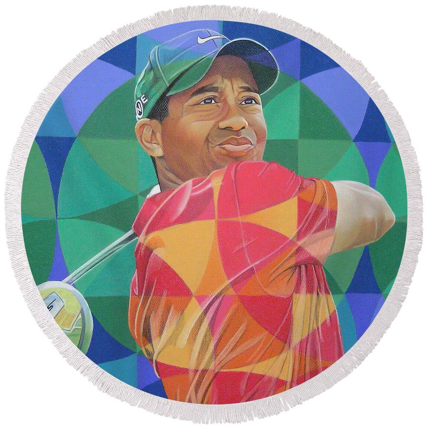 Tiger Woods Round Beach Towel featuring the drawing Tiger Woods by Joshua Morton