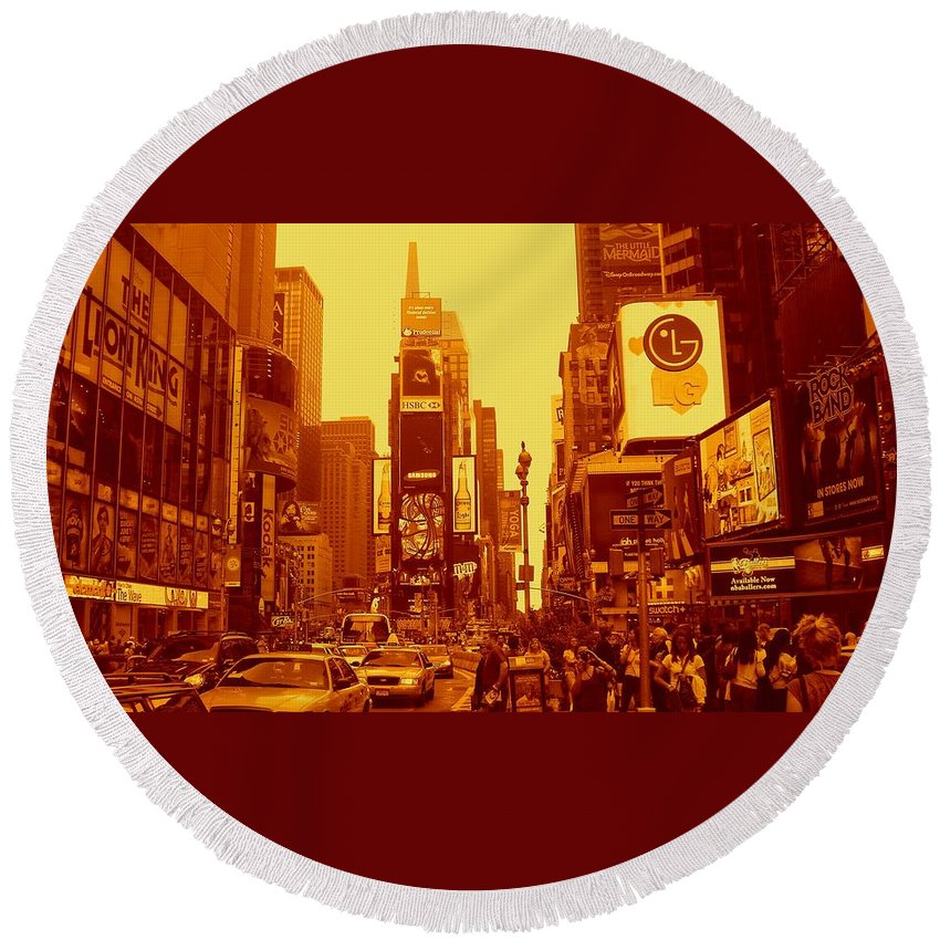 Manhattan Prints Round Beach Towel featuring the photograph 42nd Street And Times Square Manhattan by Monique's Fine Art