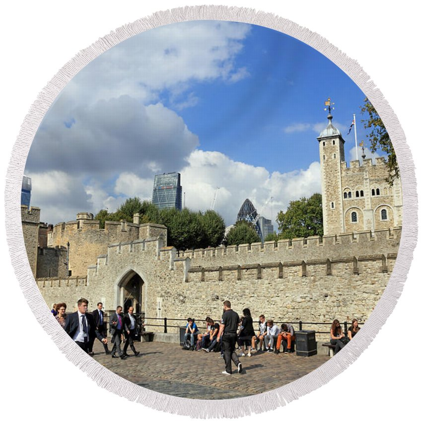 Tower Of London Round Beach Towel featuring the photograph Tower Of London by Julia Gavin