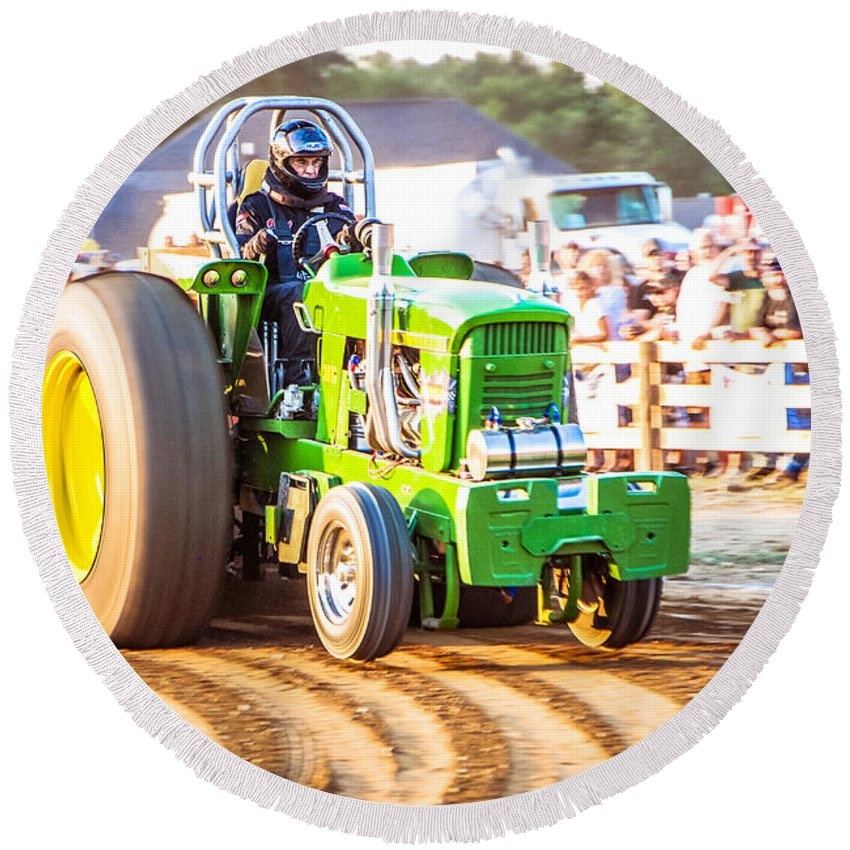 Tractor Pull Round Beach Towel featuring the photograph Tractor Pull by Grace Grogan