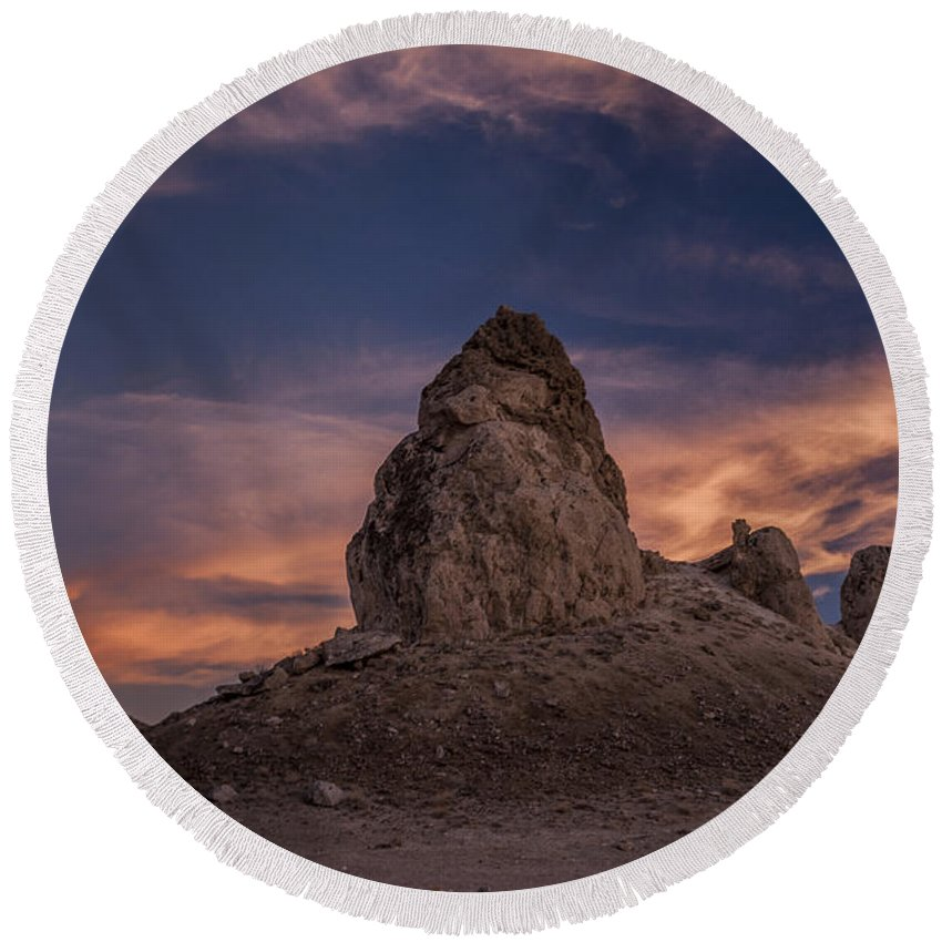 California Round Beach Towel featuring the photograph Trona Pinnacles Sunset by Cat Connor