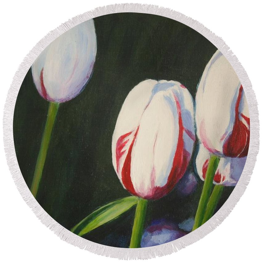 Flower Round Beach Towel featuring the painting Tulips by Sarah Vandenbusch