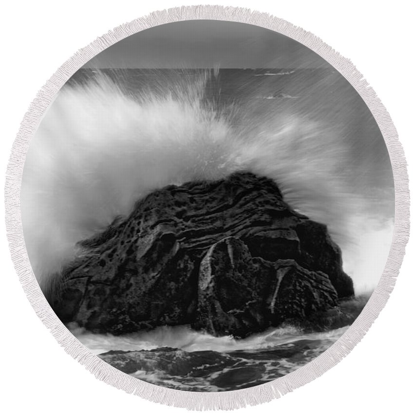 Ocean Round Beach Towel featuring the photograph Turned To Stone by Donna Blackhall