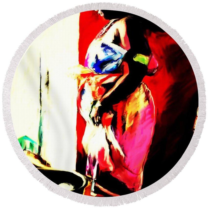 Painting Round Beach Towel featuring the painting Ugunda Fish Lady by Vannetta Ferguson