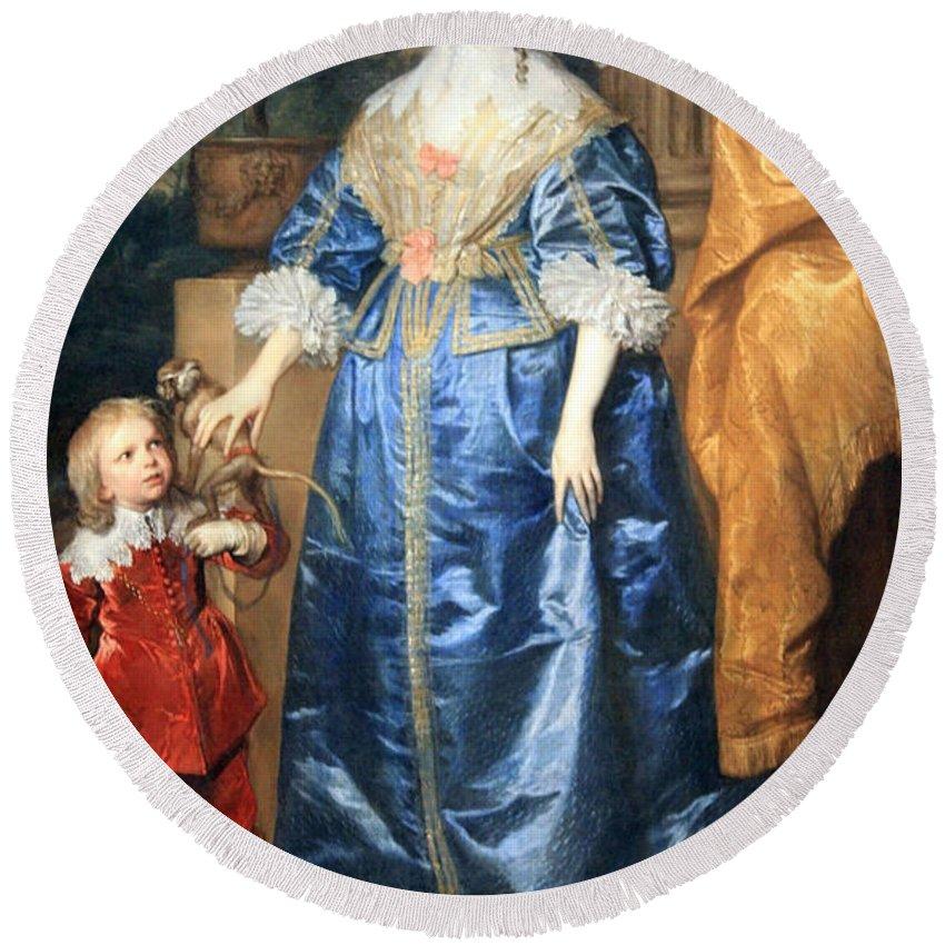 Queen Henrietta Maria With Sir Jeffrey Hudson Round Beach Towel featuring the photograph Van Dyck's Queen Henrietta Maria With Sir Jeffrey Hudson by Cora Wandel