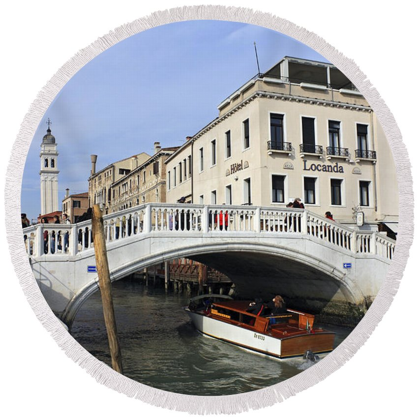 Grand Canal Venice Italy Gondola Venetian Gondolier Romantic City Italian Europe European Gondolas Boat Leaning Bell Tower Campanile Round Beach Towel featuring the photograph Venice Italy by Julia Gavin