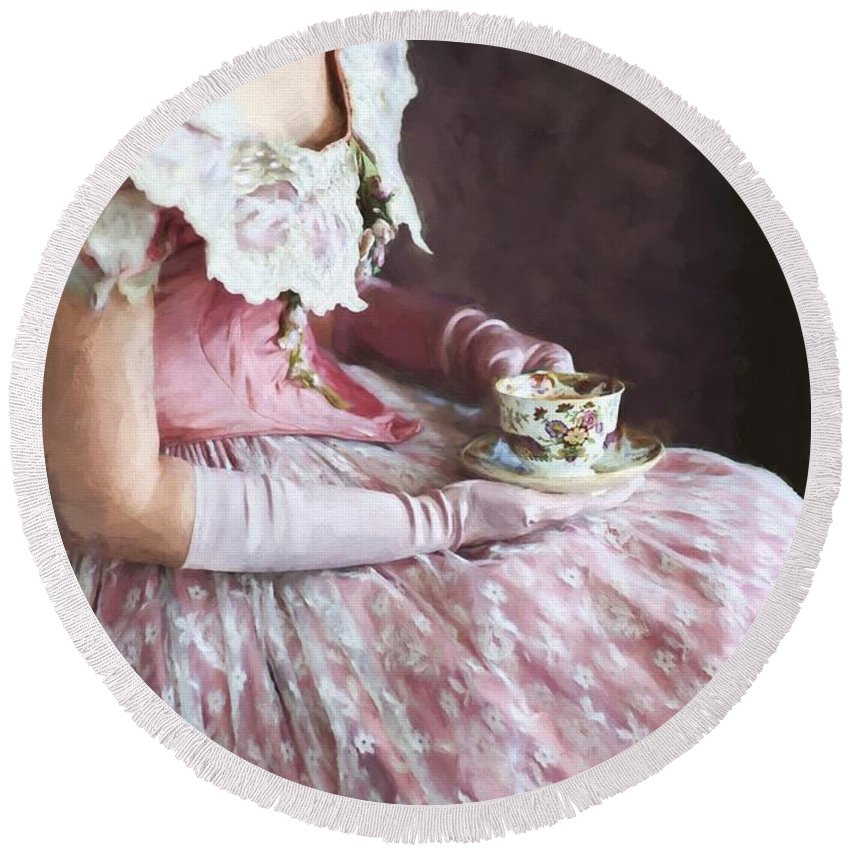 Victorian Round Beach Towel featuring the photograph Victorian Woman Taking Tea by Lee Avison