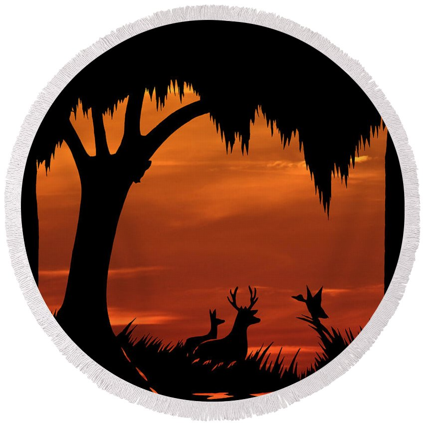 Sunset Round Beach Towel featuring the photograph Wetland Wildlife - Sunset Sky by Al Powell Photography USA