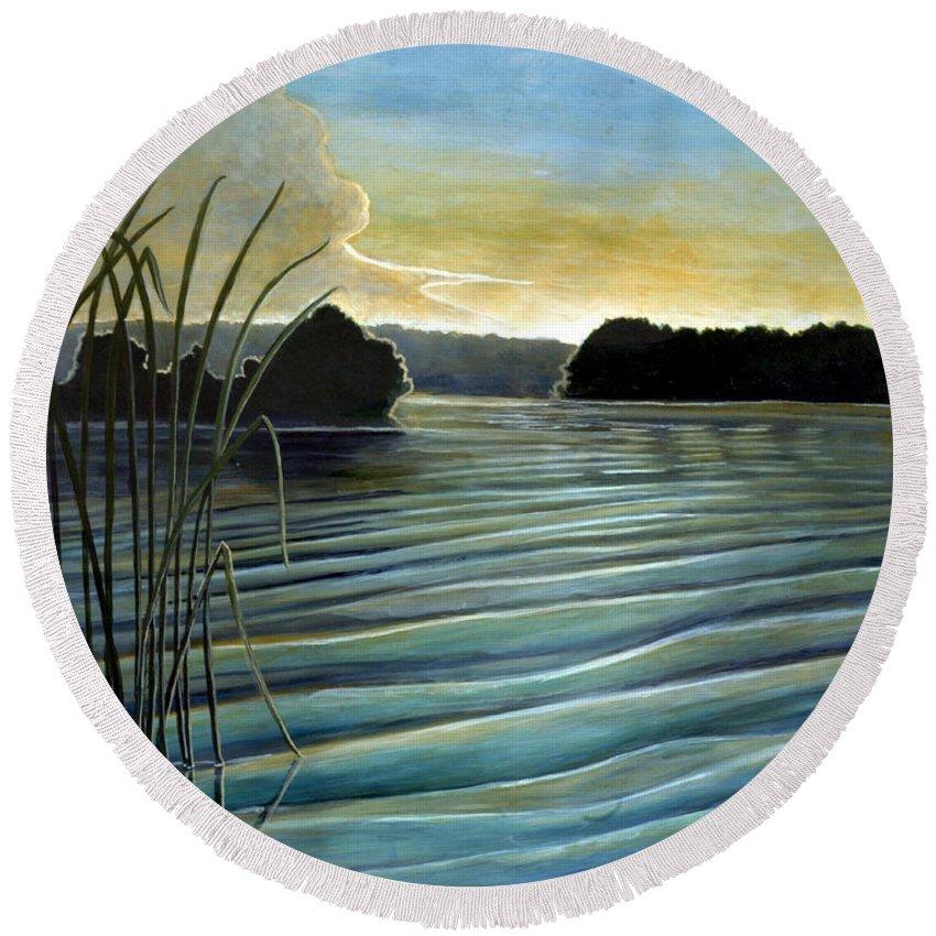 Rick Huotari Round Beach Towel featuring the painting What a beautifull morning by Rick Huotari