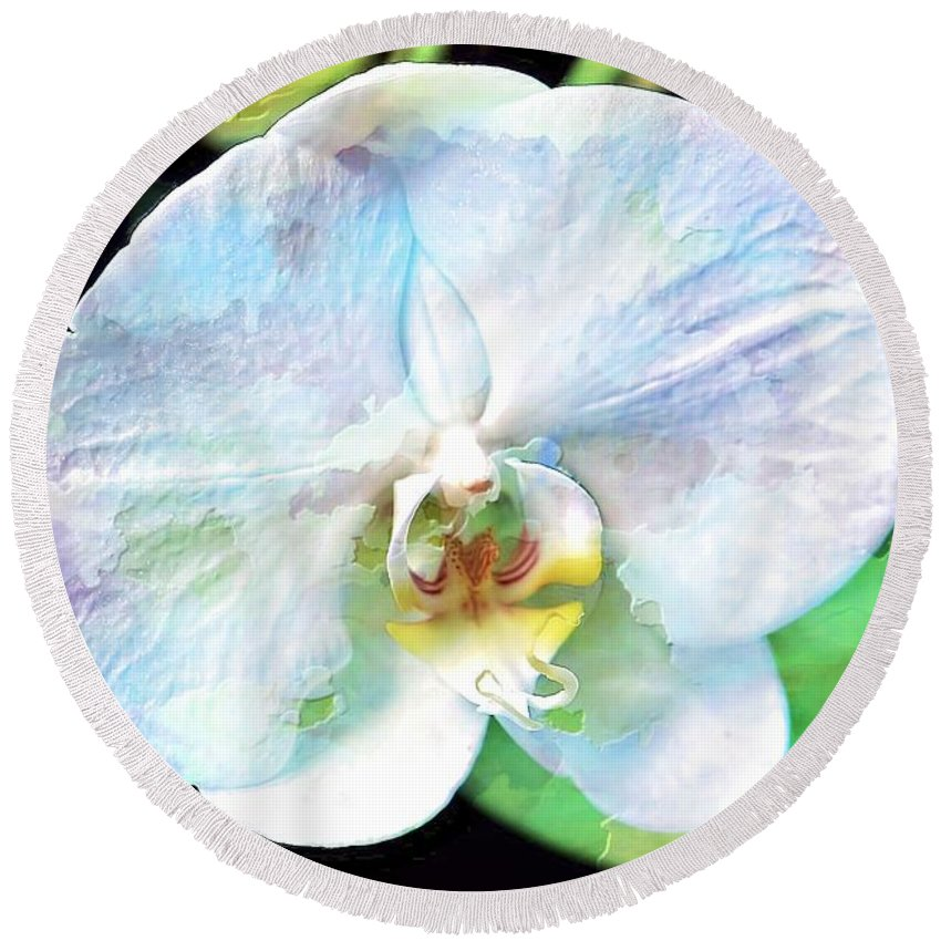 Orchid Round Beach Towel featuring the photograph White Orchid by Joyce Baldassarre