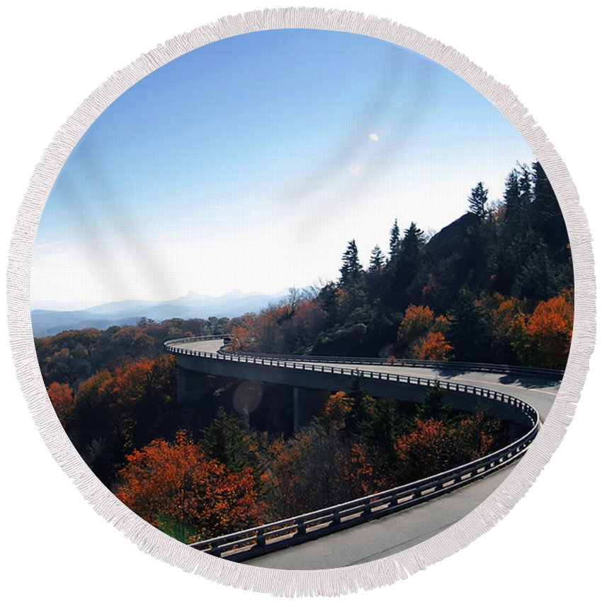Appalachia Round Beach Towel featuring the photograph Winding Curve At Blue Ridge Parkway by Alex Grichenko