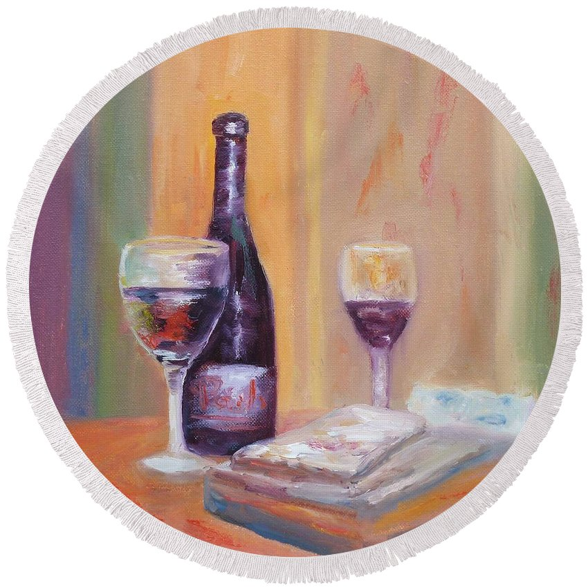 Wine Art Round Beach Towel featuring the painting Wine And Blue Cheese by Carolyn Jarvis