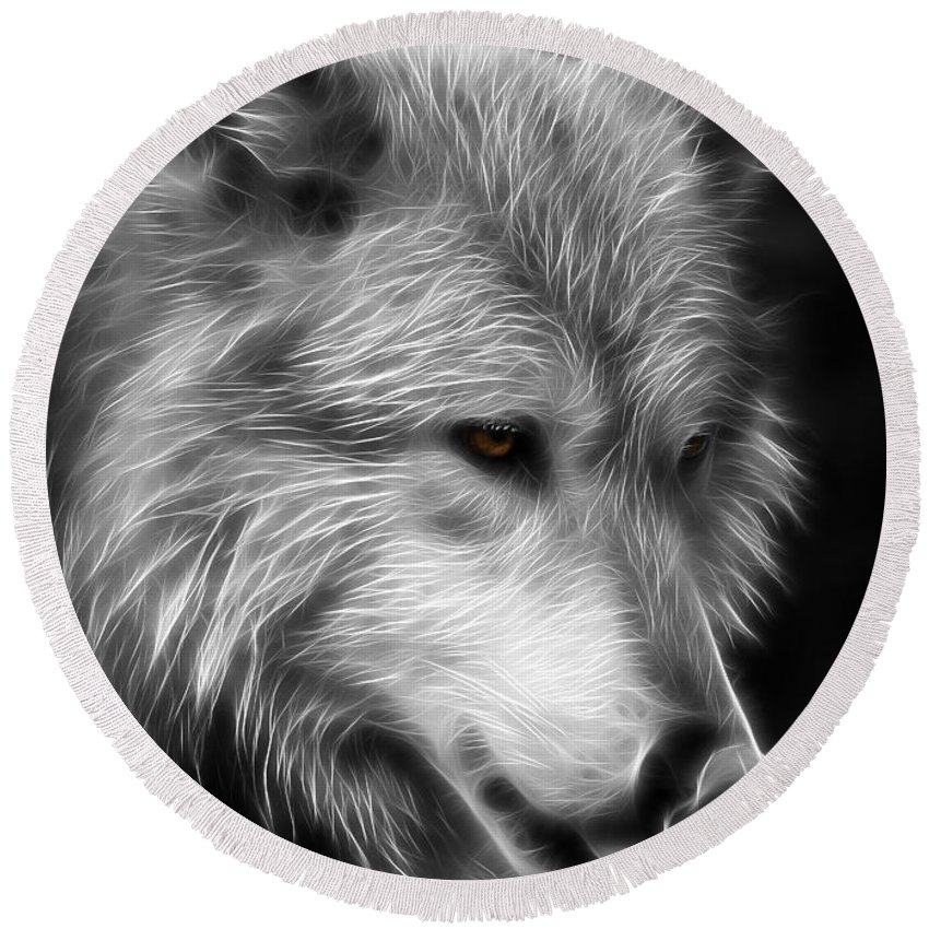Wolves Round Beach Towel featuring the photograph Wolf Eyes by Athena Mckinzie