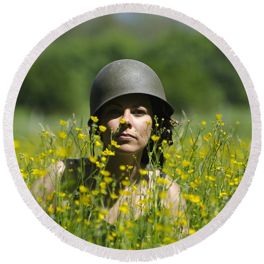 Woman Round Beach Towel featuring the photograph Woman With Military Helmet by Mats Silvan