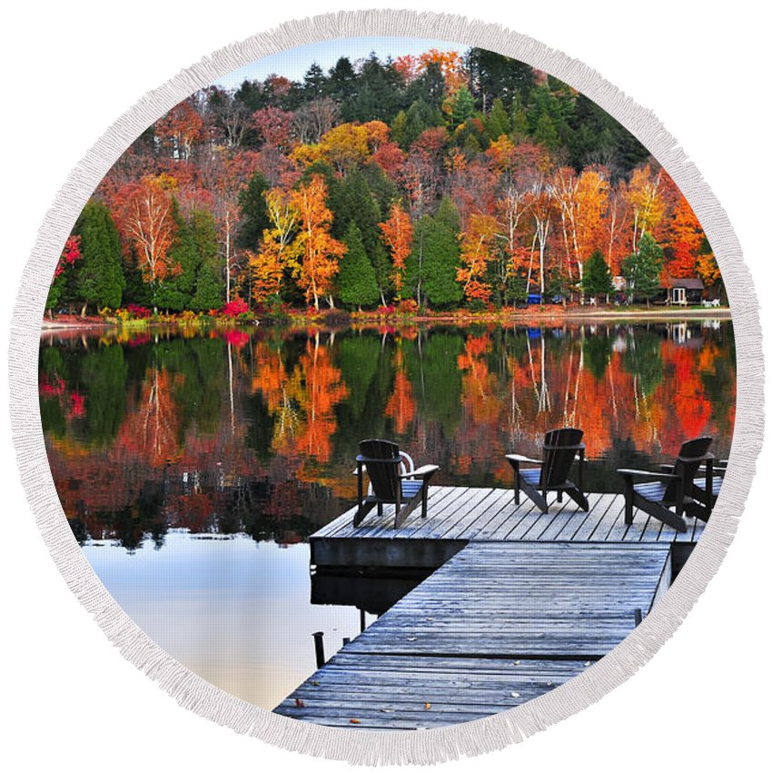 Autumn Reflections Photographs Round Beach Towels