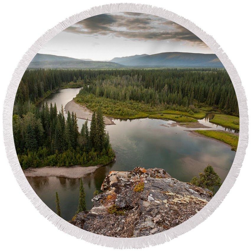 Beautiful Round Beach Towel featuring the photograph Yukon Canada Taiga Wilderness And Mcquesten River by Stephan Pietzko
