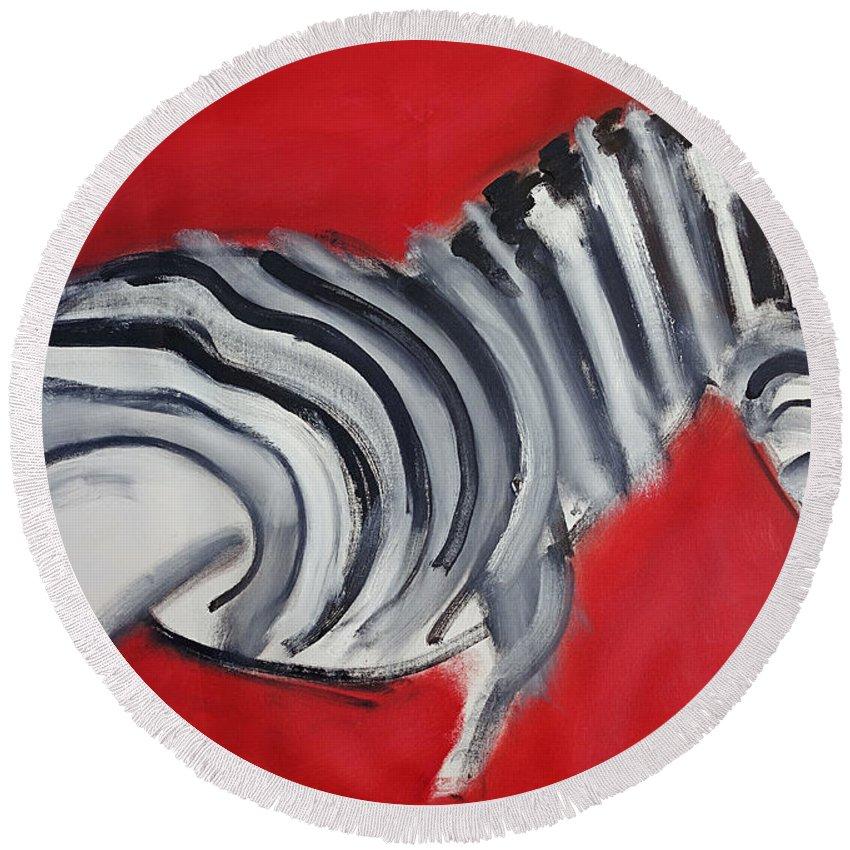 Zebra Round Beach Towel featuring the painting Zebra by Charles Stuart