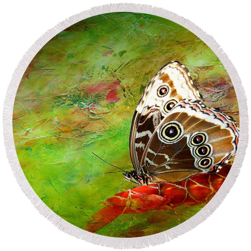 Butterfly Round Beach Towel featuring the photograph Butterfly by Heike Hultsch
