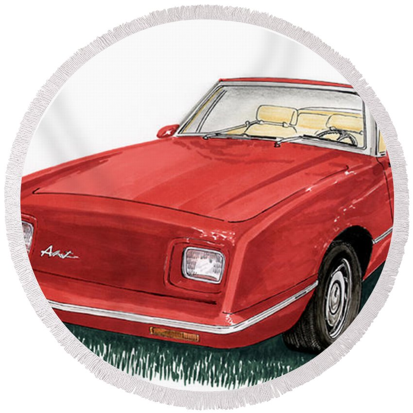 Framed Art Of The 1949 To 1961 Studebakers Round Beach Towel featuring the painting 2006 Studebaker Avanti by Jack Pumphrey