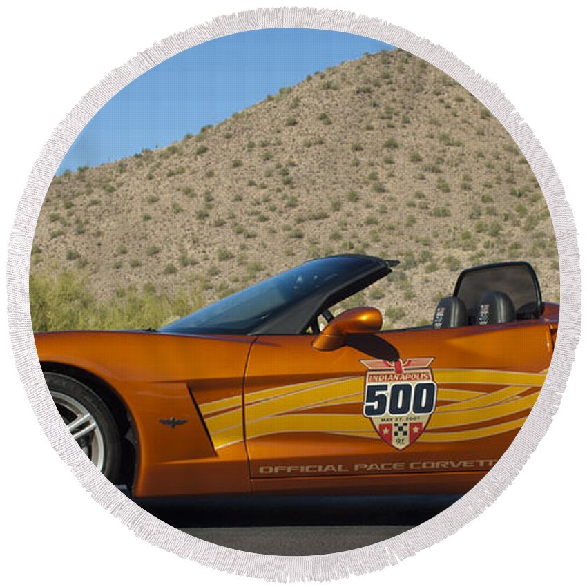 2007 Chevrolet Corvette Indy Pace Car Round Beach Towel featuring the photograph 2007 Chevrolet Corvette Indy Pace Car by Jill Reger