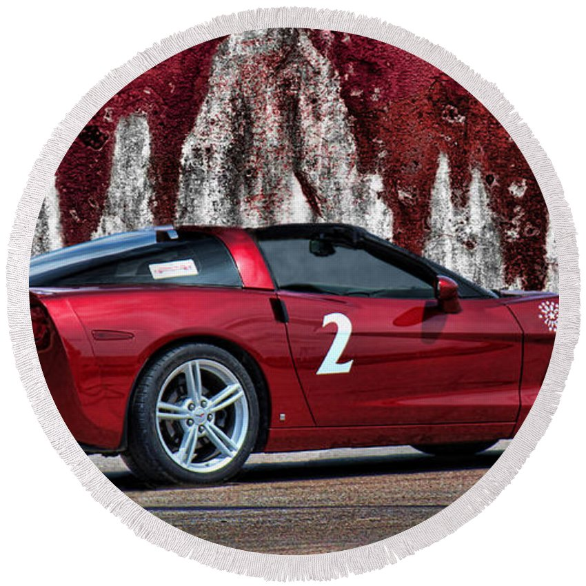 Red Corvette Round Beach Towel featuring the photograph 2008 Corvette by Sylvia Thornton