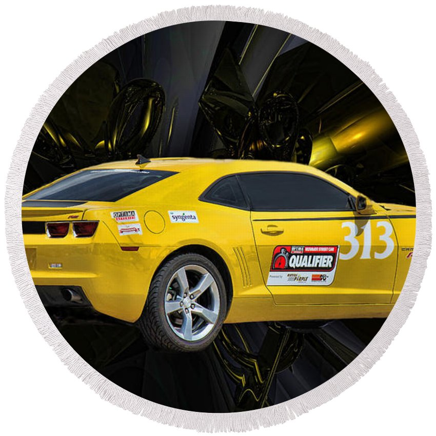 Yellow Camaro Round Beach Towel featuring the photograph 2010 Camaro by Sylvia Thornton
