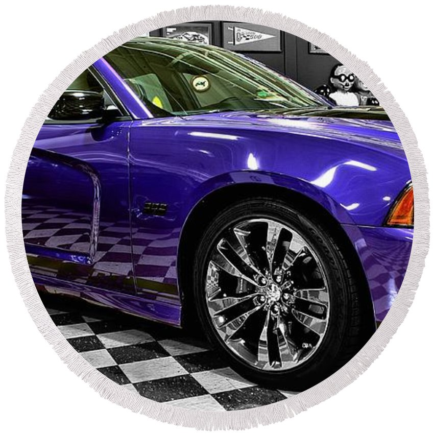 2013 Round Beach Towel featuring the photograph 2013 Dodge Charger by Michael Gordon