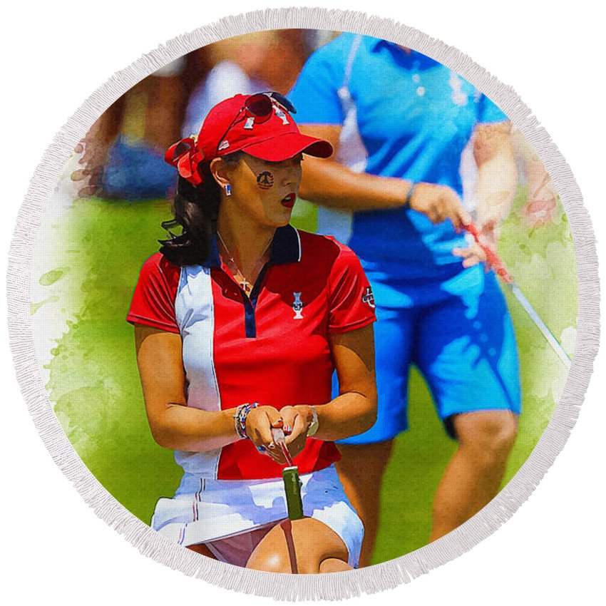 Illustration Round Beach Towel featuring the digital art 2013 Solheim Cup - Michelle Wie by Don Kuing
