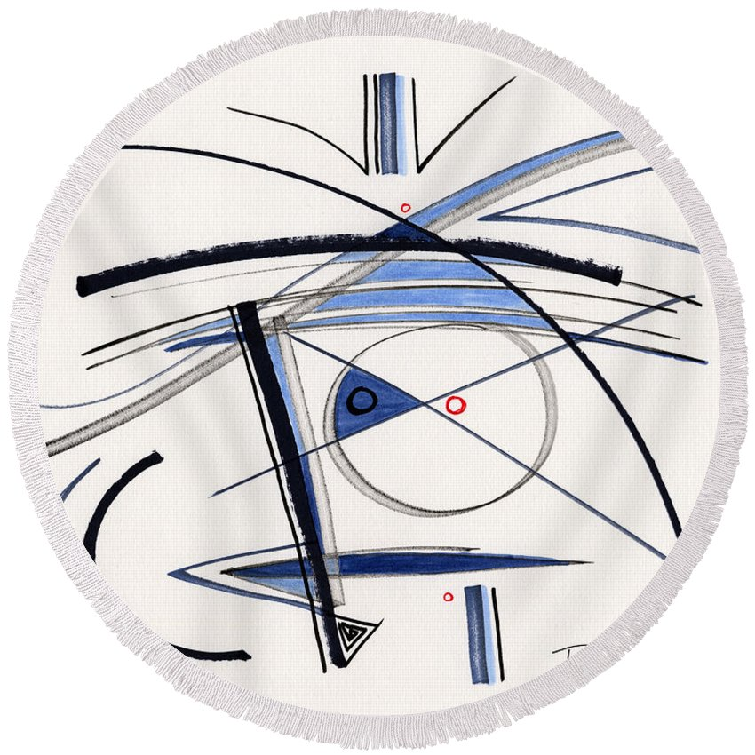 Abstract Round Beach Towel featuring the drawing 2014 Abstract Drawing #1 by Lynne Taetzsch