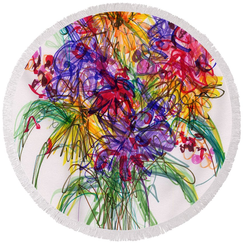 Floral Round Beach Towel featuring the drawing 2014 Abstract Drawing #14 by Lynne Taetzsch