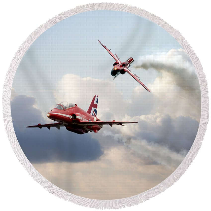 The Red Arrows Round Beach Towel featuring the digital art 2015 Red Arrows Pair by J Biggadike