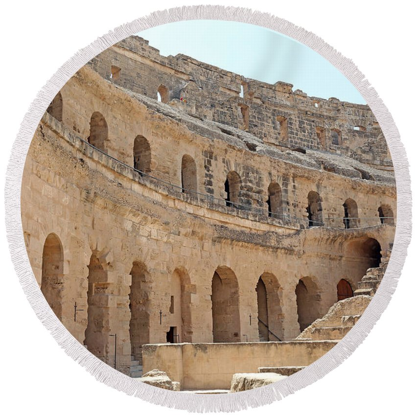 Colosseum Round Beach Towel featuring the photograph Amphitheatre by Paul Fell
