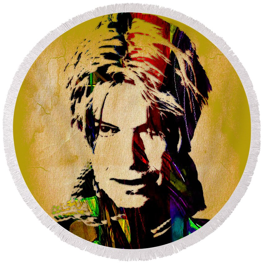 David Bowie Round Beach Towel featuring the mixed media David Bowie Collection by Marvin Blaine