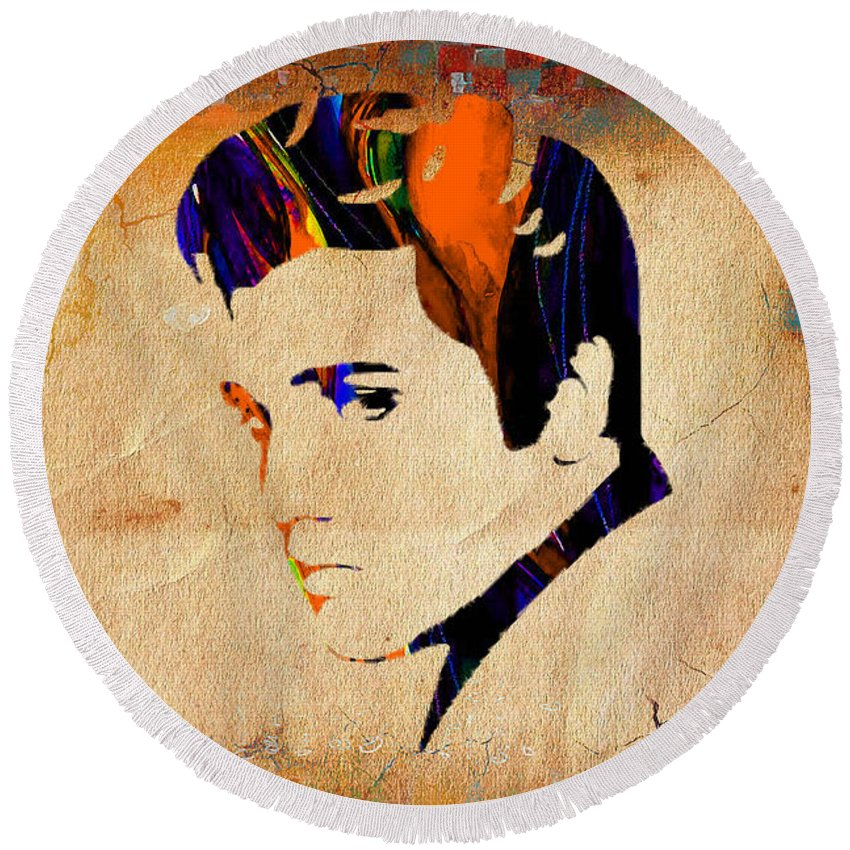 Elvis Art Round Beach Towel featuring the mixed media Elvis Presley by Marvin Blaine