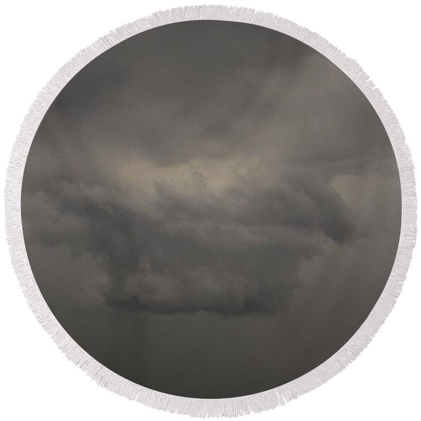 Stormscape Round Beach Towel featuring the photograph Let The Storm Season Begin by NebraskaSC