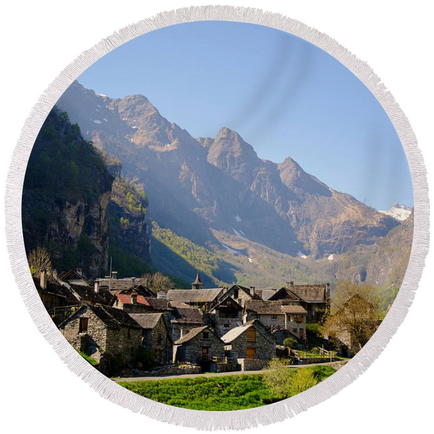 Alpine Village Round Beach Towel featuring the photograph Alpine Village by Mats Silvan