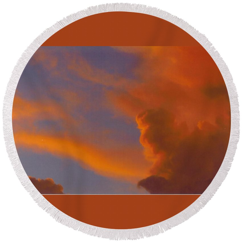 Red Clouds Building Round Beach Towel featuring the photograph Sky Scape by Robert Floyd