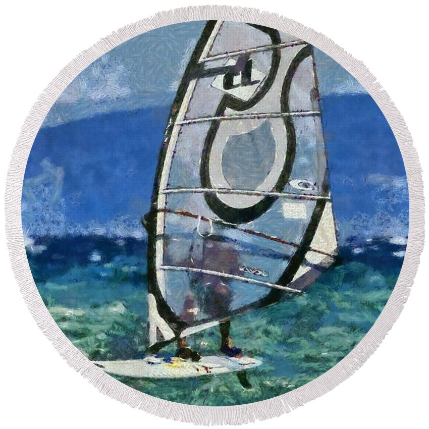 Windsurfing Round Beach Towel featuring the painting Windsurfing by George Atsametakis