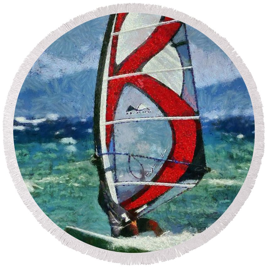 Windsurfing Round Beach Towel featuring the painting Windsurfing by George Atsametakis
