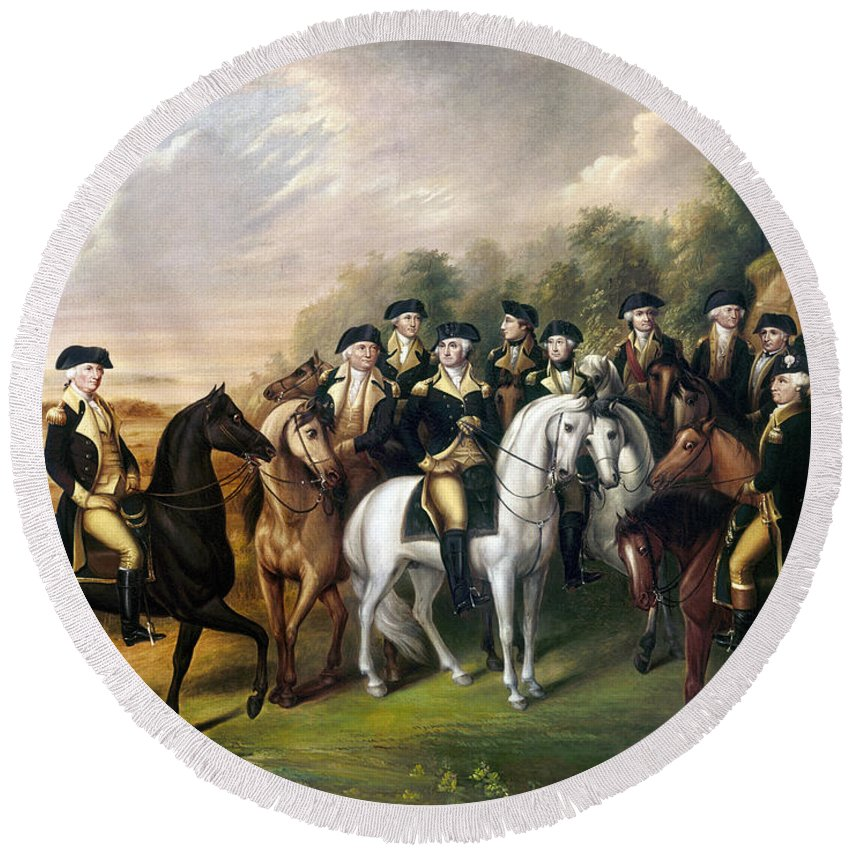 1815 Round Beach Towel featuring the photograph George Washington by Granger