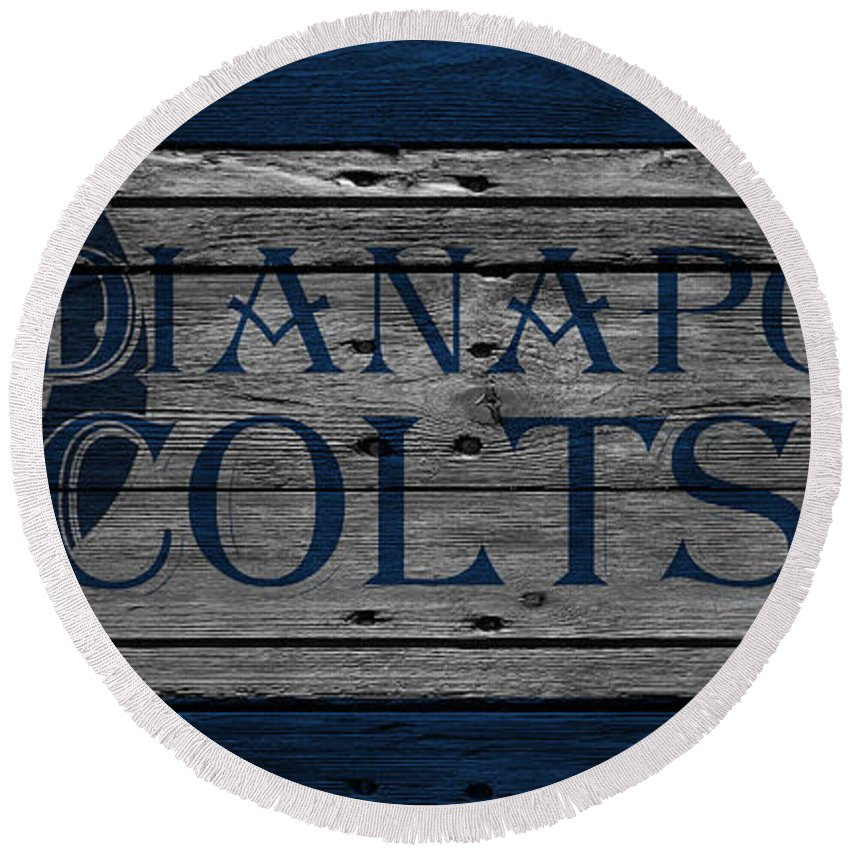 Colts Round Beach Towel featuring the photograph Indianapolis Colts by Joe Hamilton
