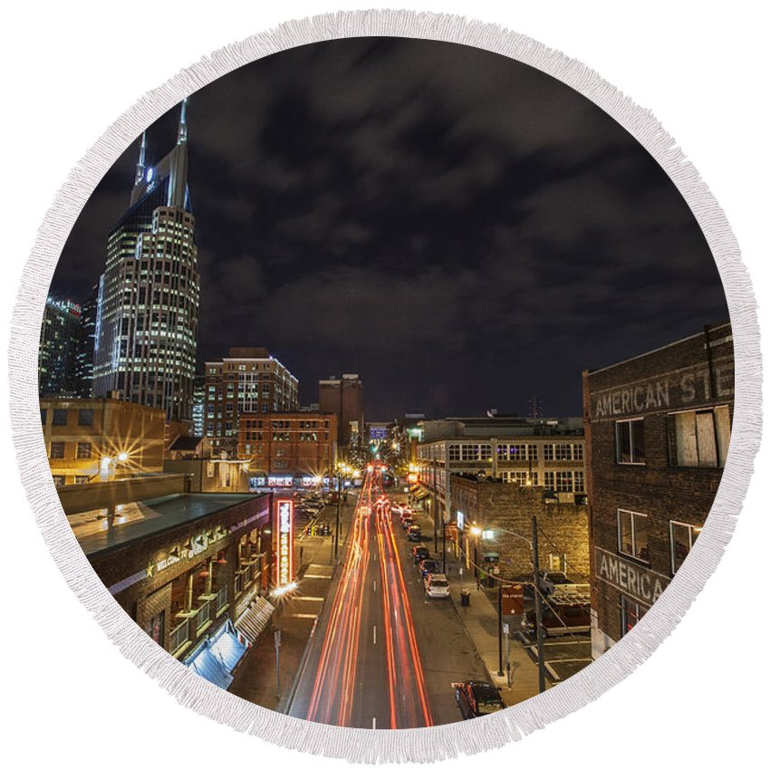 Www.cjschmit.com Round Beach Towel featuring the photograph 2nd Ave And Broadway by CJ Schmit