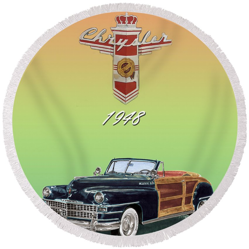 Framed Posters Of Chrysler Town & Country Convertibles.images Of 1941 Plymouth Woodies. Framed Photography Art Of Woody�s. Prints Of Cool Wood-paneled Station Wagons. Wrecked 1946 Ford Woody�s. Prints Of 1941 Plymouth Woodies. Prints Of 1941 Chrysler Town & Country Convertibles. Prints Of 1948 Ford Sportsmen Convertibles. Prints Of 1950 Ford Woody�s. Round Beach Towel featuring the painting 1948 Chrysler Town And Country by Jack Pumphrey
