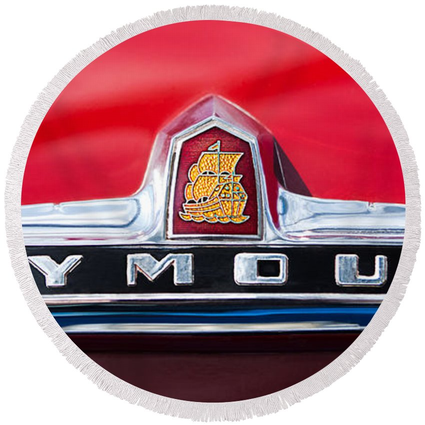 1949 Plymouth P-18 Special Deluxe Convertible Emblem Round Beach Towel featuring the photograph 1949 Plymouth P-18 Special Deluxe Convertible Emblem by Jill Reger