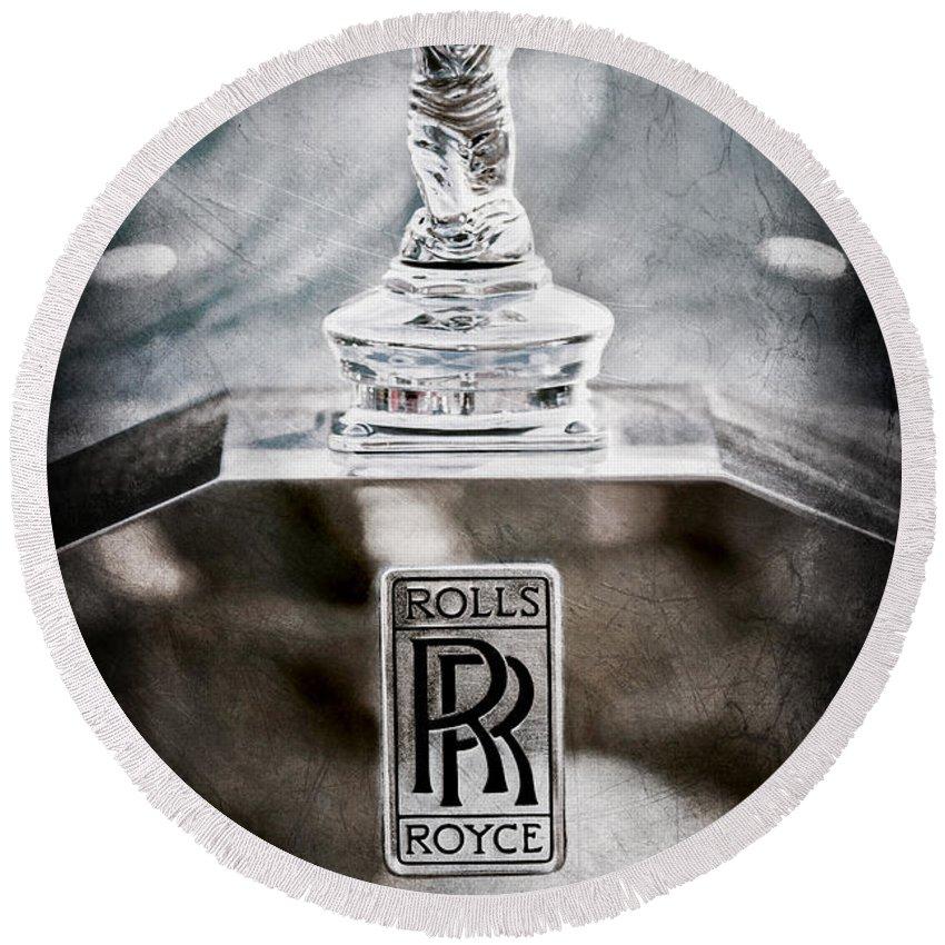 1952 Rolls-royce Hood Ornament Round Beach Towel featuring the photograph 1952 Rolls-royce Hood Ornament by Jill Reger
