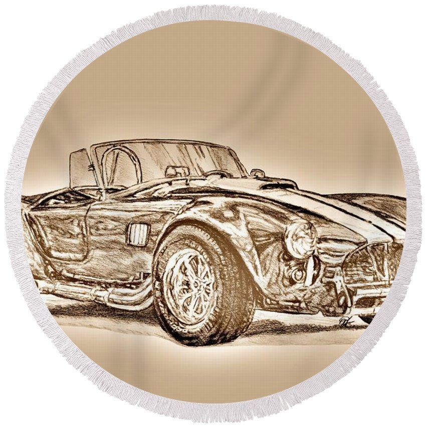 Mccombie Round Beach Towel featuring the digital art 1965 Shelby Ac Cobra by J McCombie