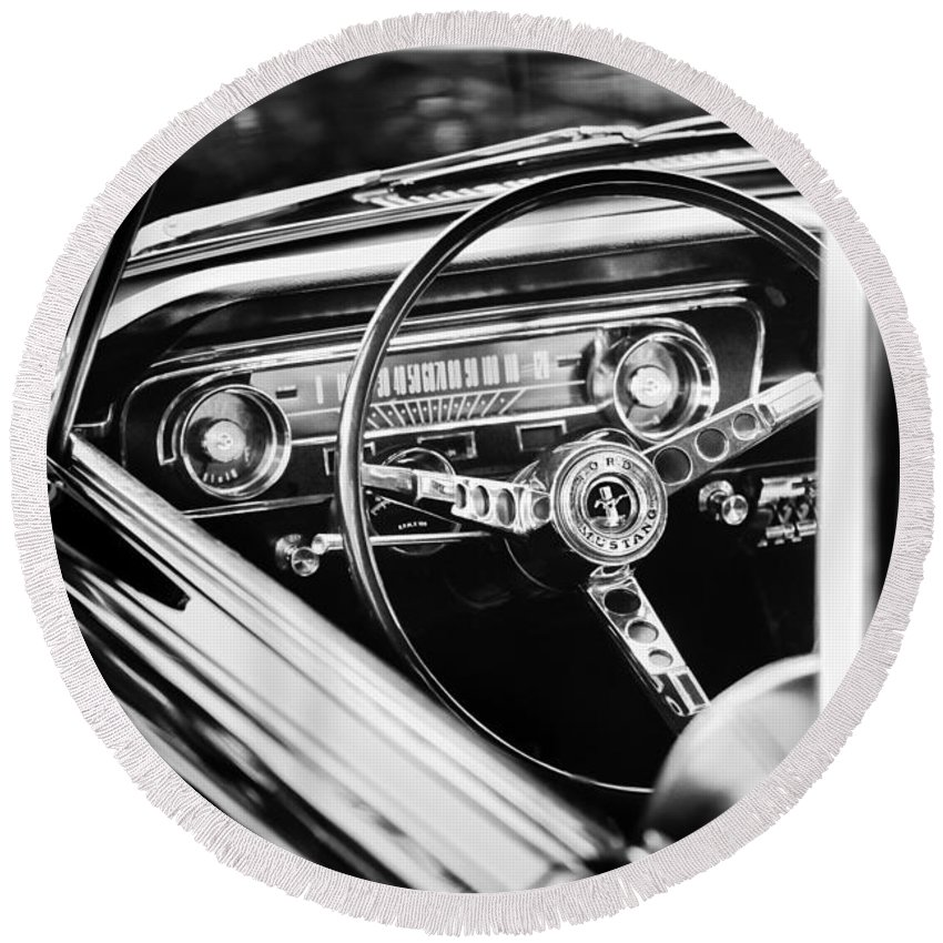 1965 Shelby Prototype Ford Mustang Steering Wheel Emblem Round Beach Towel featuring the photograph 1965 Shelby Prototype Ford Mustang Steering Wheel Emblem by Jill Reger