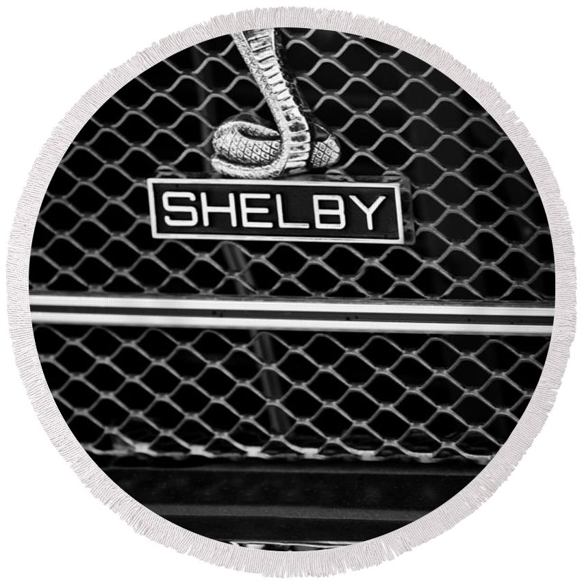 1969 Shelby Gt500 Convertible 428 Cobra Jet Grille Emblem Round Beach Towel featuring the photograph 1969 Shelby Gt500 Convertible 428 Cobra Jet Grille Emblem by Jill Reger