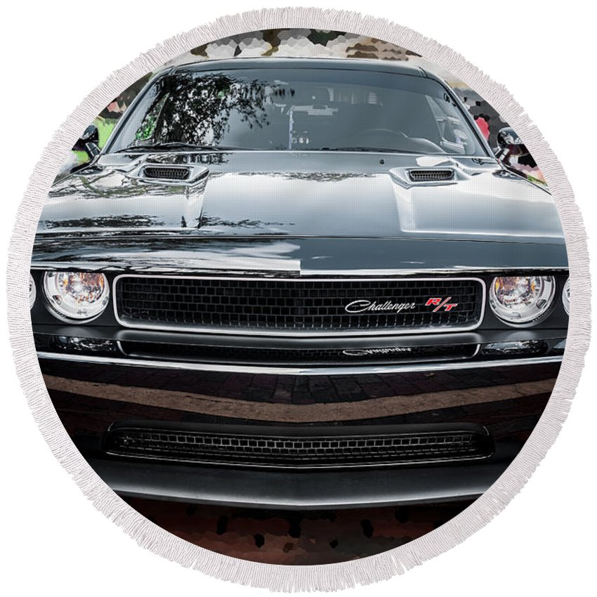 Dodge Round Beach Towel featuring the photograph 2013 Dodge Challenger by Rich Franco