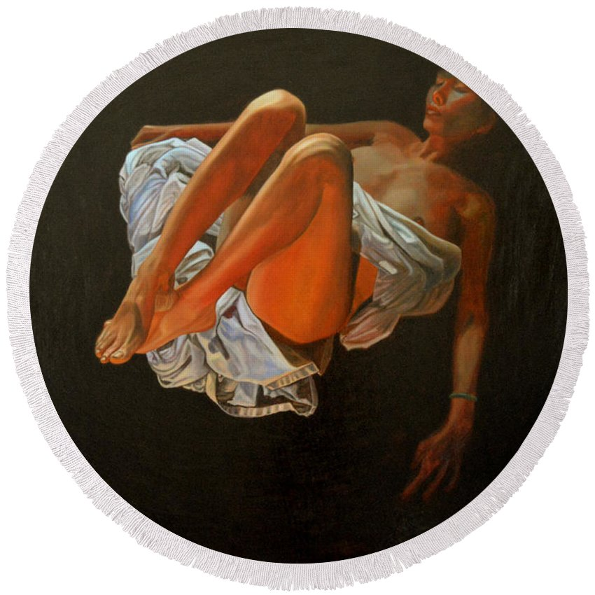 Oil-painting Round Beach Towel featuring the painting 3 30 Am by Thu Nguyen